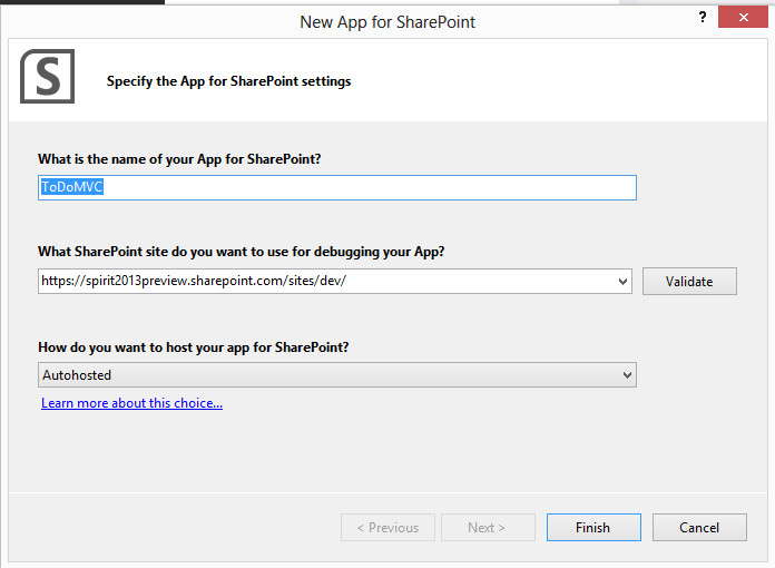 Create App for SharePoint